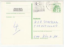 Postal Stationery Postkarte Eckernförde 1982 Pmk With Elsflether Werft AG Meter Stamp 1979 Cutout On The Back B210220 - Postales - Usados