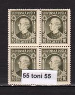 1939  P. Hlinka   Mi 36 (Yv 23), MNH)** Bloc De 4 Slovakia/Slovaquie - Nuevos