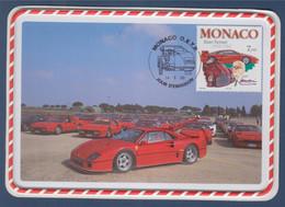 Enzo Ferrari Carte Postale 1er Jour Monaco 14.8.98 N°2168 Meeting Ferrari Club, F40 En Relief - Cartoline Maximum