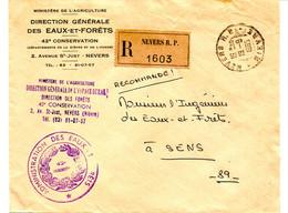 Franchise En Recommandé Des Eaux Et Forêts De Nevers 1965 Pour Sens. - Bäume