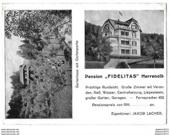 HERRENALB   Pension FIDELITAS   Carte Publicitaire  (recto-verso En L'état) - Bad Herrenalb