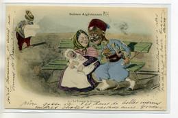 ILLUSTRATEUR F  ASSUS Scènes Algériennes No 1 Le Turco Et La Nourrice Flirt Sur Un Banc   1903 écrite Timbré    D09 2017 - Altre Illustrazioni