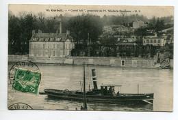 """91 CORBEIL ESSONNES Petit Bateau Vapeur Transport Pasasnt  Devant Le  """" Castel Joli """"   1913 Timb   D09 2020 - Corbeil Essonnes"""