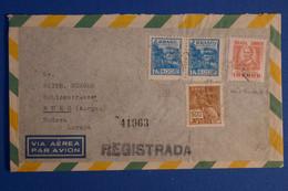 K25 BRESIL BELLE LETTRE RARE 1947 PAR AVION POUR BURG SUISSE + PAIRE T.P + AFFRANCH SUBTIL - Briefe U. Dokumente