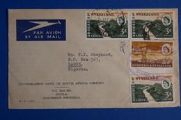 K25 RHOSEDIE NYASALAND BELLE LETTRE  1960 POUR LAGOS NIGERIA+ AFFRANCH INTERESSANT - Rhodesien & Nyasaland (1954-1963)