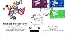 FDC Grèce 1962 L'Europe Des Dix-neuf - FDC