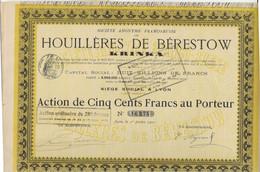 HOUILLERES DE BERESTOW -KRINKA  -1  ACTION DE CINQ CENTS FRANCS - ANNEE 1901 - Mineral