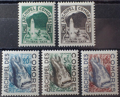 R2452/51 - 1950 - COLONIES FR. - COMORES - TIMBRES TAXE - SERIE COMPLETE - N°1 à 5 NEUFS* - Unused Stamps