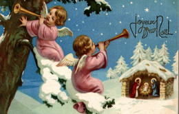 CPA Joyeux Noël : Anges Jouant De La Musique Assis Sur Une Branche D'arbre Enneigée - Anges