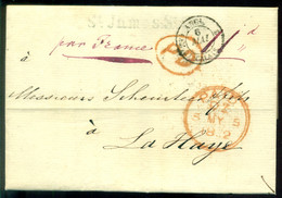 Groot Brittannie 1852 Brief Van Londen Via Calais Naar Scheurleer Den Haag - Poststempel