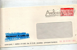 Lettre Flamme Andorra  La Vella Sur Bas Relief - Lettres & Documents
