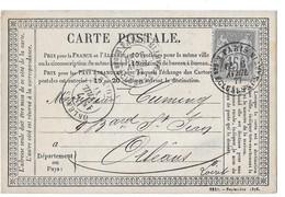 1877 PARIS RUE DES ECLUSES - POUR CUMING A ORLEANS 9 BLVD ST JEAN - CARTE POSTALE TYPE SAGE - 1876-1878 Sage (Tipo I)