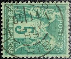 """N°75 Rare. Sage 5c. Vert. Cachet Du 11 Janvier 1889 à Paris (Distribution """"Bureau 91""""). Vendu En L'état. Voir Scan... - 1876-1898 Sage (Type II)"""