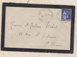 21B378 ENVELOPPE FLAMME  ST BRIEUC CENTRE TOURISTIQUE BRETRAGNE 1938 TIMBRE PAIX - 1921-1960: Moderne