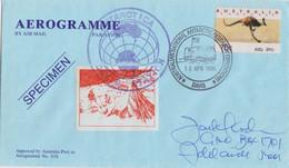 AAT, Aérogramme Spécimen Obl. Davis Le 13 APR 96 Sur TP Australien Kangourou + Cachet Davis Sur Vignette - Lettres & Documents