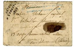 """VAUCLUSE ENV 1914 ST PIERRE DE VASSOLS => EN GUERRE """"LE DESTINATAIRE N'A PU ETRE ATTEINT EN TEMPS UTILE"""" + RETOUR 1849 = - 1877-1920: Periodo Semi Moderno"""
