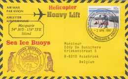 AAT, Aérogramme Obl. Macquarie Is. Le 2 APR 97 Sur TP 67 + Cachets Aurora Australis, Sea Ice Buoys, Helicopter - Lettres & Documents
