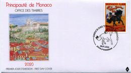 Monaco 2020 FDC  FESTIVAL INTERNATIONAL DU CIRQUE DE MONTE-CARLO Horses Cheval Horse Chevaux - Zirkus