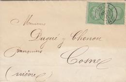 LETTRE. 28 DEC 71. TARIF IMPRIMÉ. N° 35 X 2. NEVERS POUR COSNE NIEVRES - 1849-1876: Klassik
