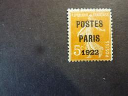 FRANCE, Année 1922, Timbre Préoblitéré YT N° 30 Sans Gomme, Deux Petites Traces Verticales Bord Supérieur (cote 11 EUR) - 1893-1947