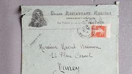 """Semeuse Sur Lettre  A Entête Commercial  """"grand Restaurant Molière """" A Saumur France ( Usé ) - 1921-1960: Periodo Moderno"""