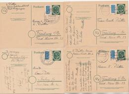 Bund 1951 Ganzsache 10 Pf. Ziffer Michel Nr. P12 II, 4x Gestempelt - Postales - Usados