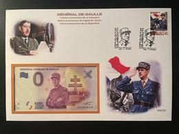Euro Souvenir Banknote Cover Général Charles De Gaulle Appel 18 Juin 130ème 80ème 50ème Annivers Djibouti Banknotenbrief - De Gaulle (General)