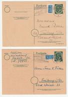 Bund 1951 Ganzsache 10 Pf. Ziffer Michel Nr. P12 I Und II, Gestempelt, Mit Und Ohne Druckvermerk - Postales - Usados