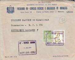 BRESIL AFFRANCHISSEMENT COMPOSE SUR LETTRE A EN TETE POUR MADAGASCAR 1974 - Briefe U. Dokumente