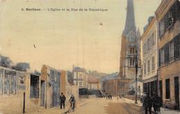 21-4334 : HARFLEUR. EGLISE ET RUE DE LA REPUBLIQUE. CARTE TOILEE COULEUR. - Harfleur