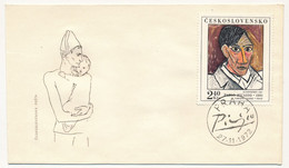 TCHECOSLOVAQUIE -Enveloppe FDC - Autoportrait De Pablo Picasso - Prague - 27/11/1972 - FDC