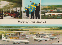 C.P - PHOTO - HALSNING FRAN ARLANDA - MULTIVUES - LINDEBERG - AEROPORT - AVIONS - S.A.S. - Suecia