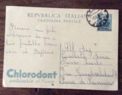 CARTOLINE POSTALI PUBBLICITARIE LEOCREMA E CLORODONT USATE - 1946-60: Storia Postale