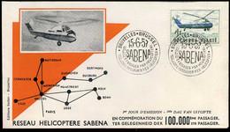 België - FDC -1012 Helikopterdienst SABENA -- Stempel : Bruxelles-Brussel - 1951-60