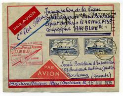 AIR BLEU / Ligne PARIS BORDEAUX 1er Vol 1935 / YT 299 X2  Paquebot Normandie / - Luchtpost