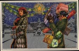 Artiste CPA Stoopendaal, Curt Nyström, Frohe Weihnachten, God Jul, Dame Beim Einkauf, Geschenke - Andere