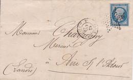 LAC Yvert 14A Napo.III Etoile De Paris Paris Pour Aire Sur Adour  1861 - 1849-1876: Periodo Classico