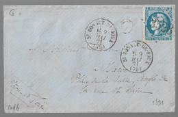"""St BONNET De JOUX  : 1871 :  GC 3528 + CàD  Type 16 + Boite Rurale """" G """" Sur 20c Cérès Bordeaux ( Saône Et Loire ) : - 1849-1876: Classic Period"""