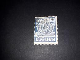 """A8MIX17 REGNO D'ITALIA 1923 ANNIVERSARIO DELLA MARCIA SU ROMA LIRE 1 AZZURRO """"X"""" - Mint/hinged"""