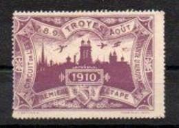 Vignette Lilas: Circuit De L'est - 1ere étape - Troyes - Aout 1910 - Vliegtuigen