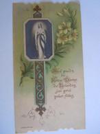 Image Pieuse Santini Devotieprentje Marie Maria Aux Pieds De Notre-Dame De Lourdes J'ai Prié Pour Vous Celluloid Bonamy - Devotion Images