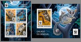 GUINEA BISSAU 2020 MNH WWF Galago Monkeys Affen Singes Overprint GOLD FOIL M/S+S/S - OFFICIAL ISSUE - DHQ2108 - Mono