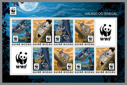 GUINEA BISSAU 2020 MNH WWF Galago Monkeys Affen Singes Overprint GOLD FOIL M/S I - OFFICIAL ISSUE - DHQ2108 - Mono