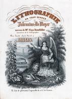 Lthographie Fabronius - De Meyer Neveu De Mr.aloys Senefelder INVENTEUR De La LITHOGRAPHIE Rue Haute BRUGES 20x14,5cm - Porcelana