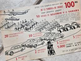FLYER TOMBOLA DU SOLDAT, GUERRE D'ALGÉRIE  1959  , LOTS 2CV , VELOSOLEX  , SCOOTER MANURHIN, PEUGEOT 403, DAUPHINE, ECT. - Historical Documents