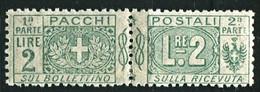REGNO 1914  PACCHI POSTALI NODO 2 LIRE * GOMMA ORIGINALE - Paketmarken