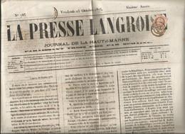 - HAUTE MARNE - LANGRES - Càd T.17 S/TP Cérès IIIeme Republique N°51 /journal Entier  1875 - 1871-1875 Ceres