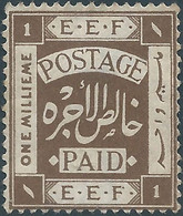 EGITTO - EGYPT-  EGYPTE,1918  Egyptian Expeditionary Force, 1M ,Mint - 1915-1921 Protectorado Británico