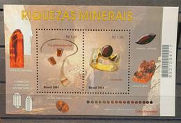 Brasil - 2001 - MNH As Scan - Brasilian Precious Stones - 1 Souvenir Sheet Of 2 Stamps - Neufs