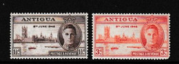 ANTIGUA    1946    Victory    Set  Of  2    MNH - 1858-1960 Kronenkolonie